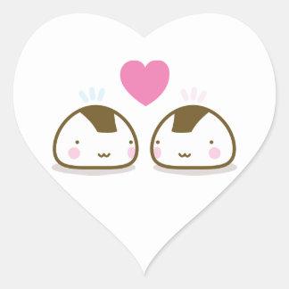 onigiris no amor adesivo coração