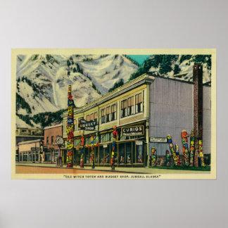 Opinião de Juneau, Alaska do Totem velho da bruxa  Poster