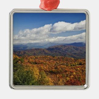 Opinião do outono de montanhas apalaches do sul ornamento quadrado cor prata