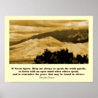 Oração Cherokee com paisagem Poster