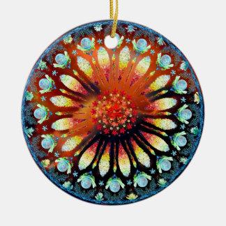 Oração do incêndio violento ornamento de cerâmica redondo