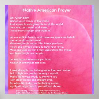 Oração do nativo americano pôster
