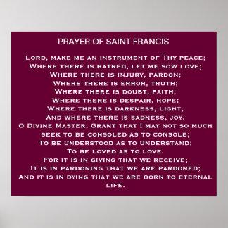 Oração do poster de Francis de santo Pôster