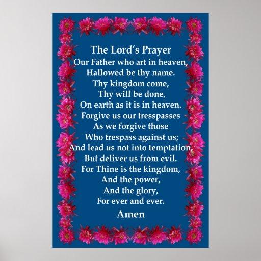 """Oração s do senhor de """" em um quadro de cacto de o poster"""