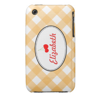 Orange country gingham pattern red cherry custom iPhone 3 Case-Mate cases