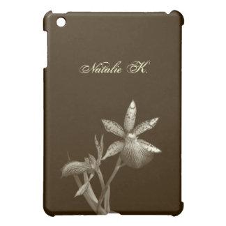 Orchid flower floral black white custom name photo iPad mini case