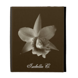 Orchid flower lover floral dark sepia custom name iPad folio cases
