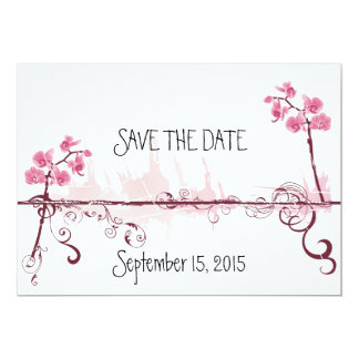 Orchids Wedding Save the Date Card Convite 12.7 X 17.78cm