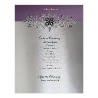 Ordem de prata roxa de cerimónia flyer 21.59 x 27.94cm