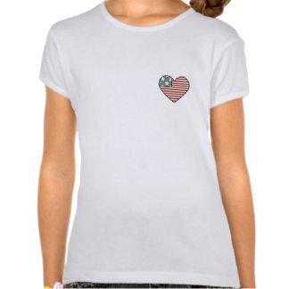 Orgulho-Coração americano bandeira dada forma Tshirt