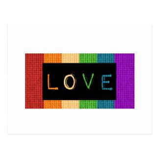Orgulho da etiqueta LBGT do amor e apoio do aliado Cartão Postal