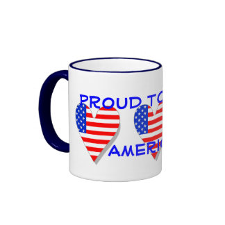 Orgulhoso ser uma caneca americana dos corações