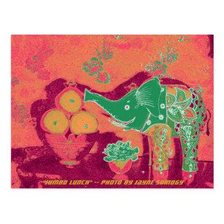 Orig. Foto--Elefante verde no fundo alaranjado Cartão Postal