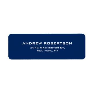 Original contemporâneo elegante liso azul escuro etiqueta endereço de retorno