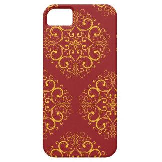 ornamen florais marrons vermelhos iphone5 capa para iPhone 5