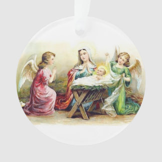 Ornamento Anjos do vintage que cercam o bebê Jesus e Mary