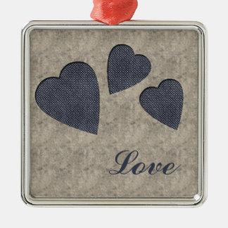 Ornamento azul do amor dos corações