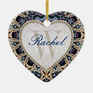 Ornamento azul do coração do amor do monograma do