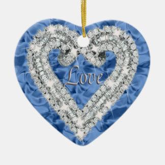 Ornamento azul do coração do diamante do amor