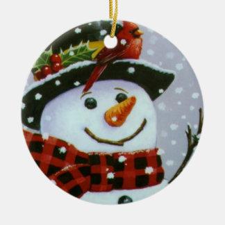 Ornamento/boneco de neve do círculo do Natal Ornamento De Cerâmica