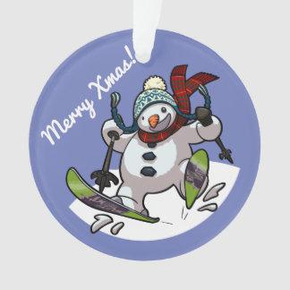 Ornamento Boneco de neve do esqui no Xmas Woolly da feliz do