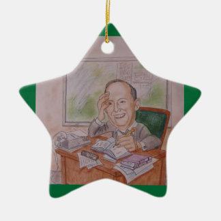Ornamento:  Caricatura, vintage Ornamento De Cerâmica Estrela
