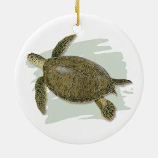 Ornamento cerâmico da tartaruga verde