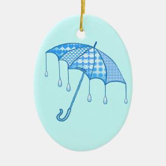 Ornamento cerâmico oval do parasol da chuva