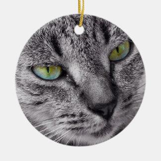 Ornamento cerâmico redondo do gato de gato malhado