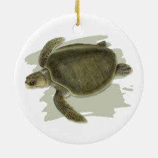 Ornamento cerâmico verde-oliva da tartaruga de mar
