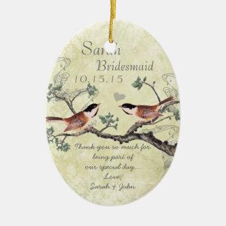 Ornamento da madrinha de casamento do pássaro do