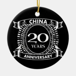 Ornamento De Cerâmica 20a porcelana do aniversário de casamento