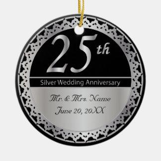 Ornamento De Cerâmica 25o Lembrança do aniversário de casamento de prata