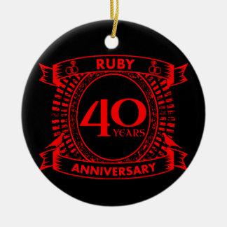 Ornamento De Cerâmica 40th crista do rubi do aniversário de casamento