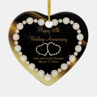Ornamento De Cerâmica 50th Aniversário de casamento dourado da foto