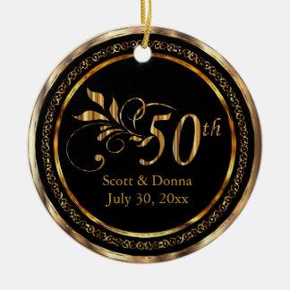 Ornamento De Cerâmica 50th aniversário de casamento dourado elegante