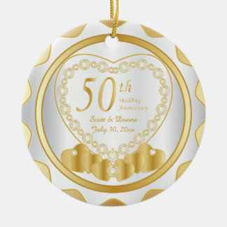 Ornamento De Cerâmica 50th Nome & data do aniversário de casamento