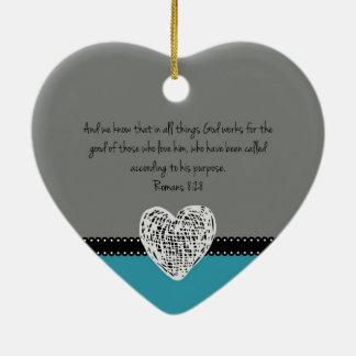 Ornamento De Cerâmica 8:28 cristão dos romanos do verso da bíblia do
