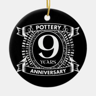 Ornamento De Cerâmica 9a cerâmica do aniversário de casamento