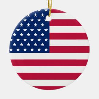 Ornamento De Cerâmica A bandeira dos EUA Stars o Natal patriótico de