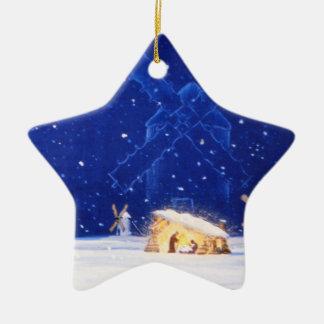 Ornamento De Cerâmica A estrela de Bethlehem & de DON QUIXOTE