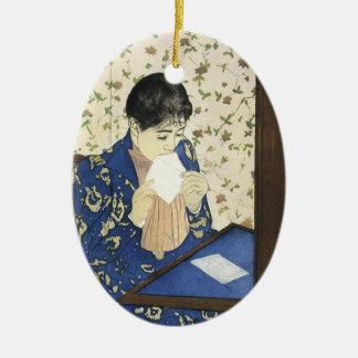 Ornamento De Cerâmica A letra por Mary Cassatt, impressionismo do