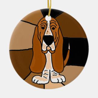 Ornamento De Cerâmica Abstrato adorável da arte do cão de Basset Hound