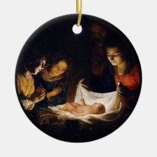 Ornamento De Cerâmica Adoração de Criança Adorazion del Bebê