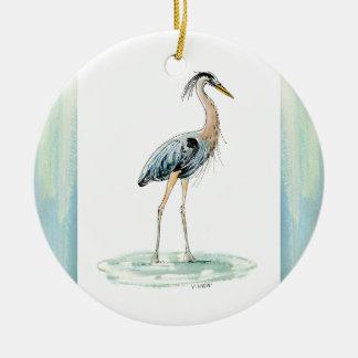 Ornamento De Cerâmica Aguarela azul da garça-real