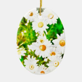 Ornamento De Cerâmica Aguarela das margaridas