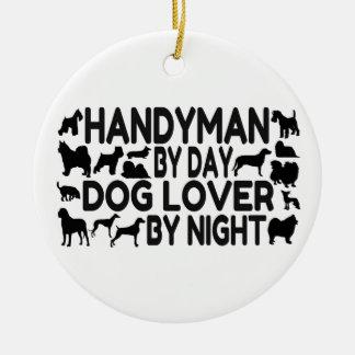 Ornamento De Cerâmica Amante do cão do trabalhador manual