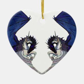 Ornamento De Cerâmica Amantes do unicórnio e do casamento do dragão