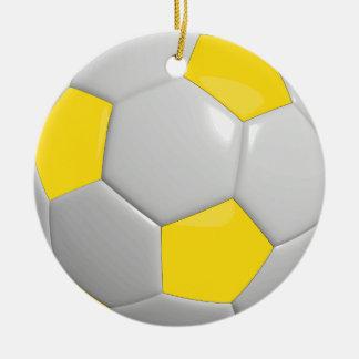 Ornamento De Cerâmica Amarelo da bola de futebol |