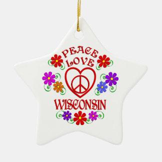Ornamento De Cerâmica Amor Wisconsin da paz